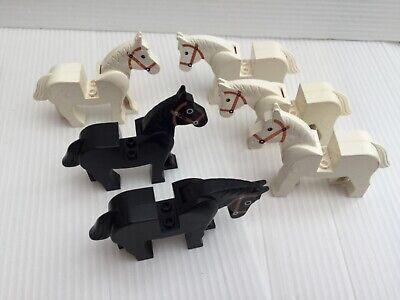 6 Lego Animals - Horses, old style, 4 white, 2 black