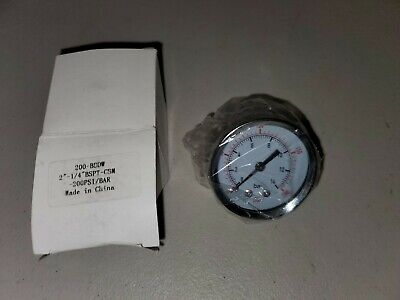 14 Npt Air Compressor Hydraulic Pressure Gauge 0-200psi 14 Bar Back Mount 2
