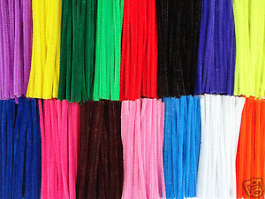 25-OR-50-CHENILLE-STEMS-CRAFT-PIPE-CLEANERS-10-COLOUR-CHOICE-SIZE-6-15CM