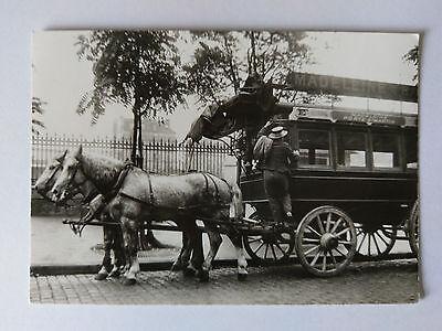 Paris, France B&W Postcard 1965 rep 1900 La Madeleine Bastille horse drawn bus