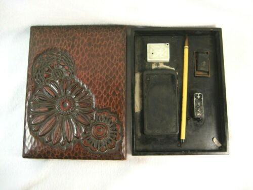 ANTIQUE JAPANESE LACQUERED BOX CALLIGRAPHY SET CHRYSANTHEMUM