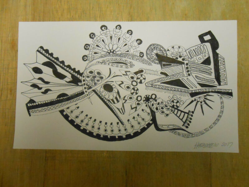 """ORIGINAL ABSTRACT INK DRAWING """" FAIR GROUND """""""