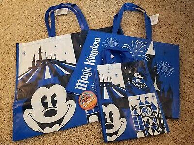 WDW Disney Parks Magic Kingdom Reusable Shopping Gift Tote Bags Set of 3 S,M,& L