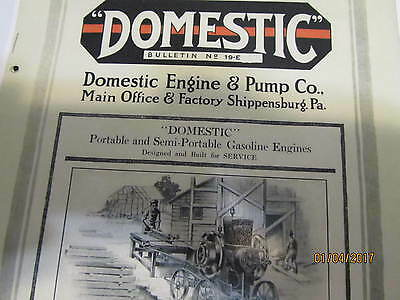Domestic Gas Engine Pump Co. Catalog No 19-e Manual Engine Carts Pulley