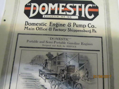Domestic Gas Engine & Pump Co. Catalog No 19-E Manual engine carts pulley