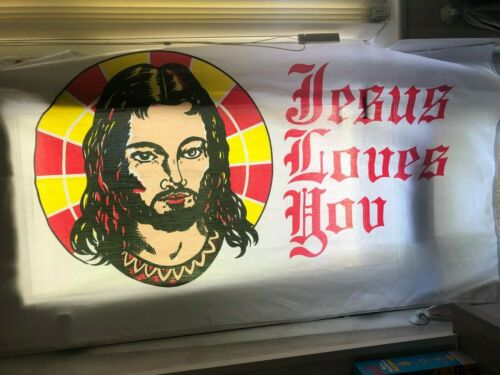 Jesus loves you flag 5 x 3