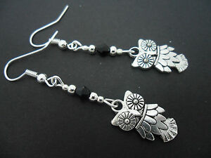 A-PAIR-OF-TIBETAN-SILVER-DANGLY-OWL-BLACK-CRYSTAL-EARRINGS-NEW