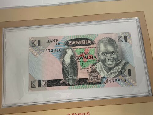 BANK OF ZAMBIA ONE KWACHA NOTE SERIAL NUMBER 48/A 372840 UNC CHOICE CRISP (MR)
