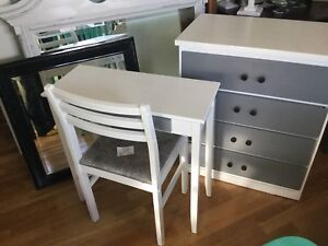 Combo: white & grey small dresser and vanity set