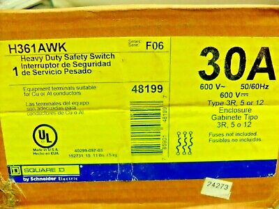 Square D H361awk Fusible Safety Switch 30a 600v Nib