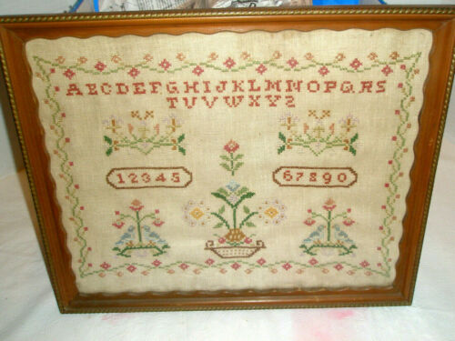 Vintage Needlework ABC Sampler Birds Flowers Alphabet Numbers Linen Framed