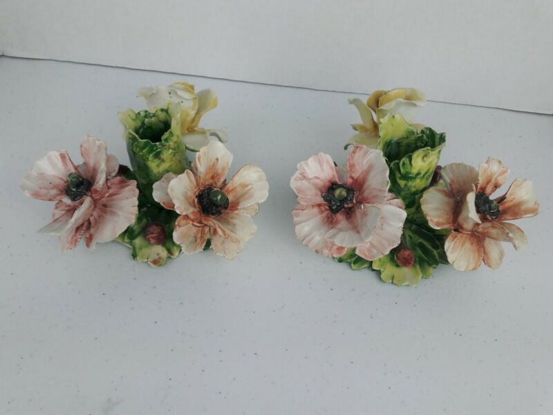 1 Pair of Capodimonte Italian Porcelain Floral Candle Holder Candlestick Taper