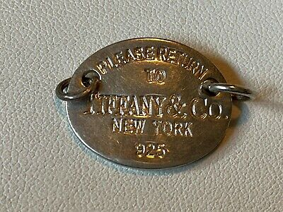 Vintage Tiffany & Co. New York 925 Sterling Silver Oval Please Return To -