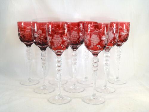 Ajka Crystal Magdas Pride Cut to Clear Deep Cranberry Tall Wine Glass(es) Qty