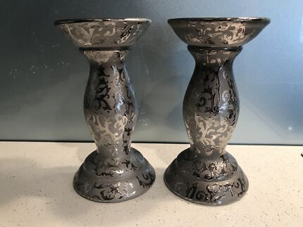 Pair of silver candle holders