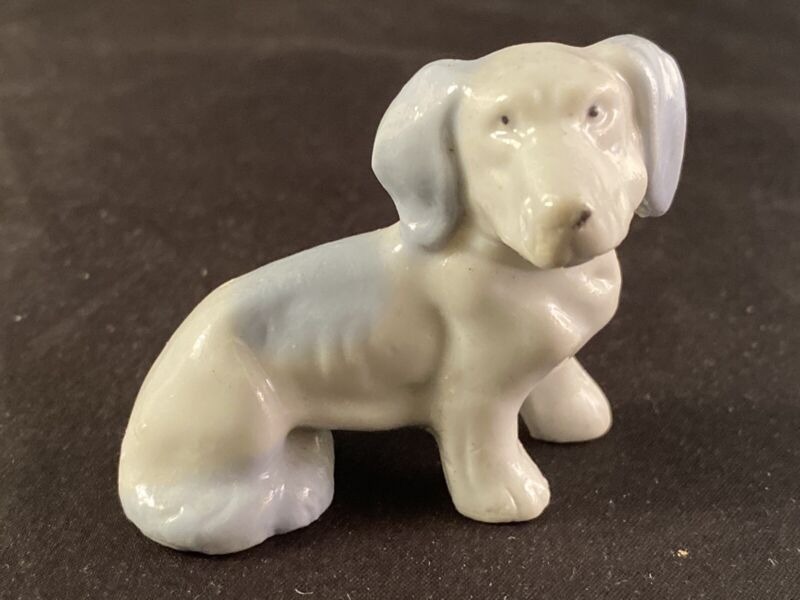 Japan Minitaure Figurine Hound Dog Blue Cute