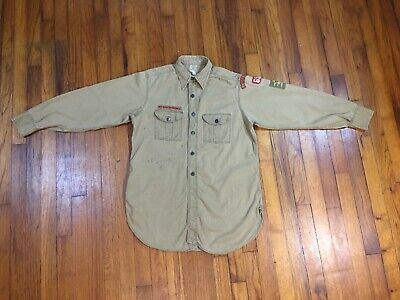 1940s Men's Shirts, Sweaters, Vests Vintage 30s 40s BSA Boy Scouts America Uniform Shirt Mens Medium Buttons Patches $55.00 AT vintagedancer.com