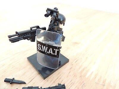 Custom SWAT Polizei Minifigur Custom Teile viel Zubehör Waffen Lego kompatibel