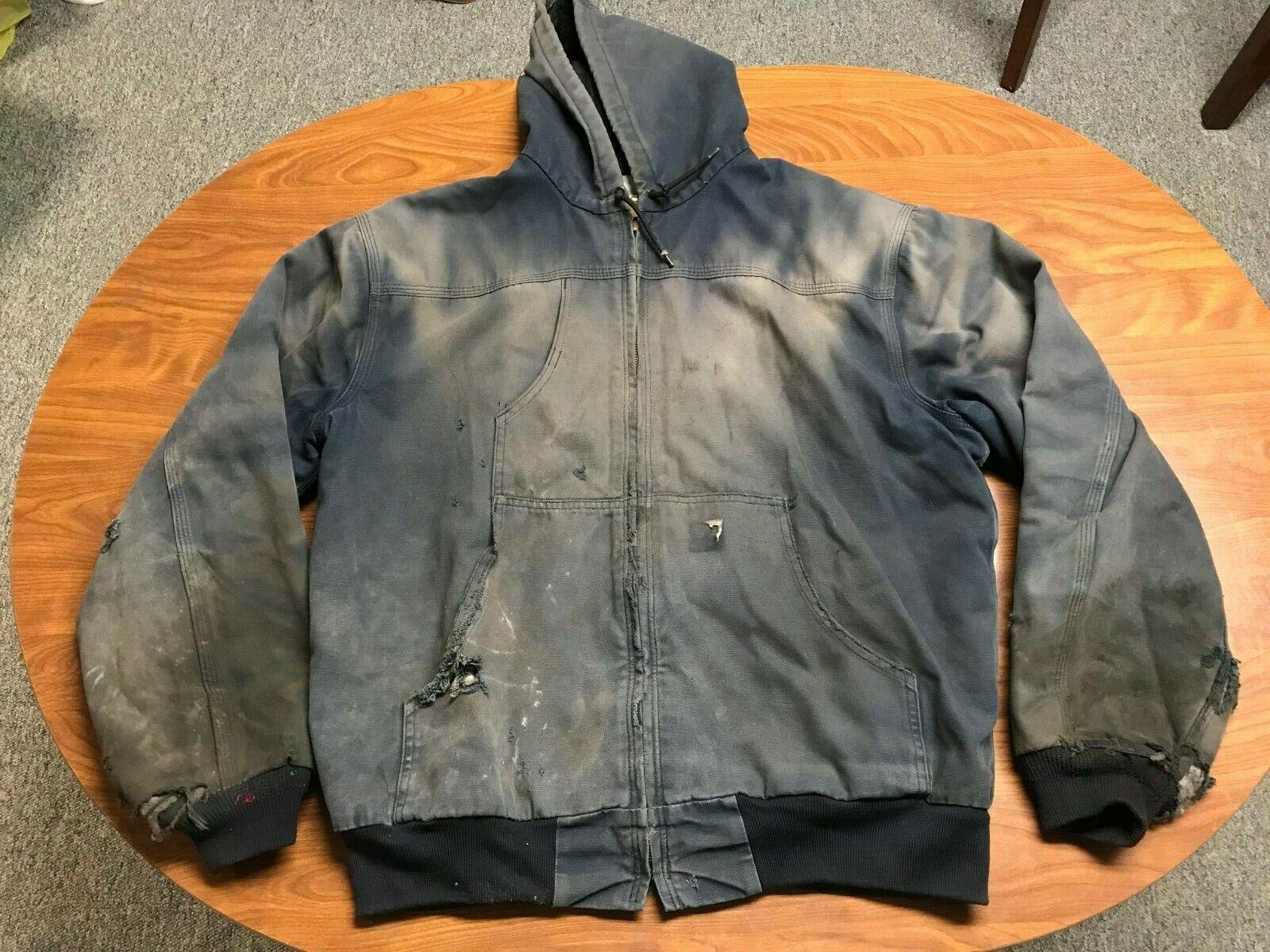 MENS DISTRESSED CARHARTT NAVY BLUE FULL ZIP CANVAS HOODED WORK JACKET SIZE XL - $15.50