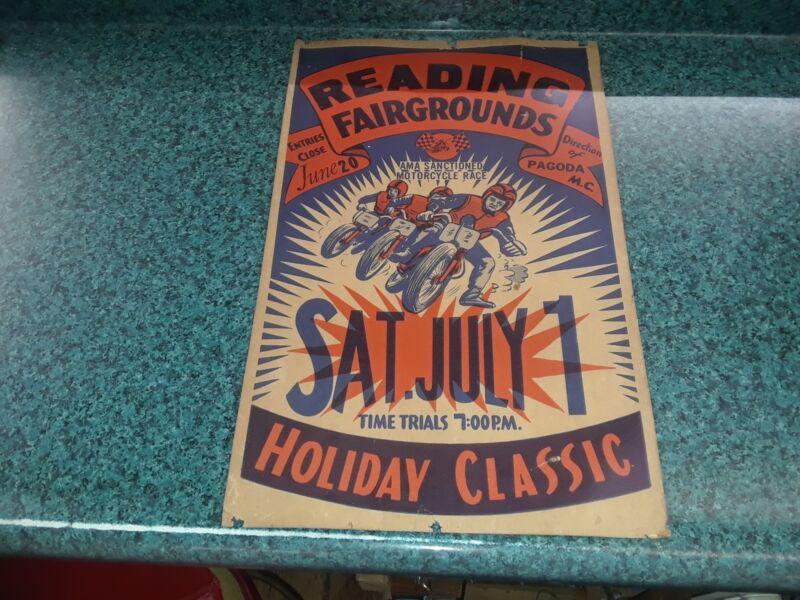 EARLY READING PA FAIRGROUNDS AMA PAGODA MOTORCYCLE CLUB RACING POST CARDBOARD