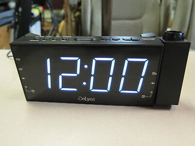 OnLyee AM FM Radio Alarm Clock, Projection Ceiling Wall Clock LED Digital USB