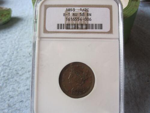 1853 Braided Hair Half Cent NGC graded AU58 Choice AU Cheapest on Ebay! BV$225