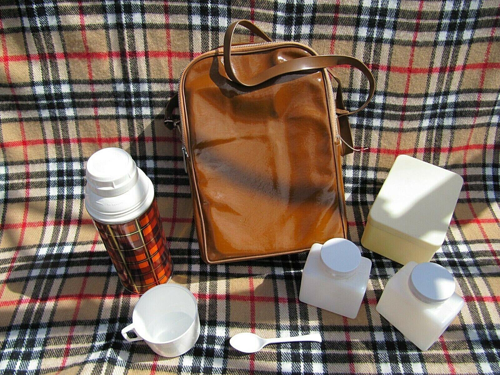1950s ? Brexton Vintage Thermos flask, picnic set + messenger bag