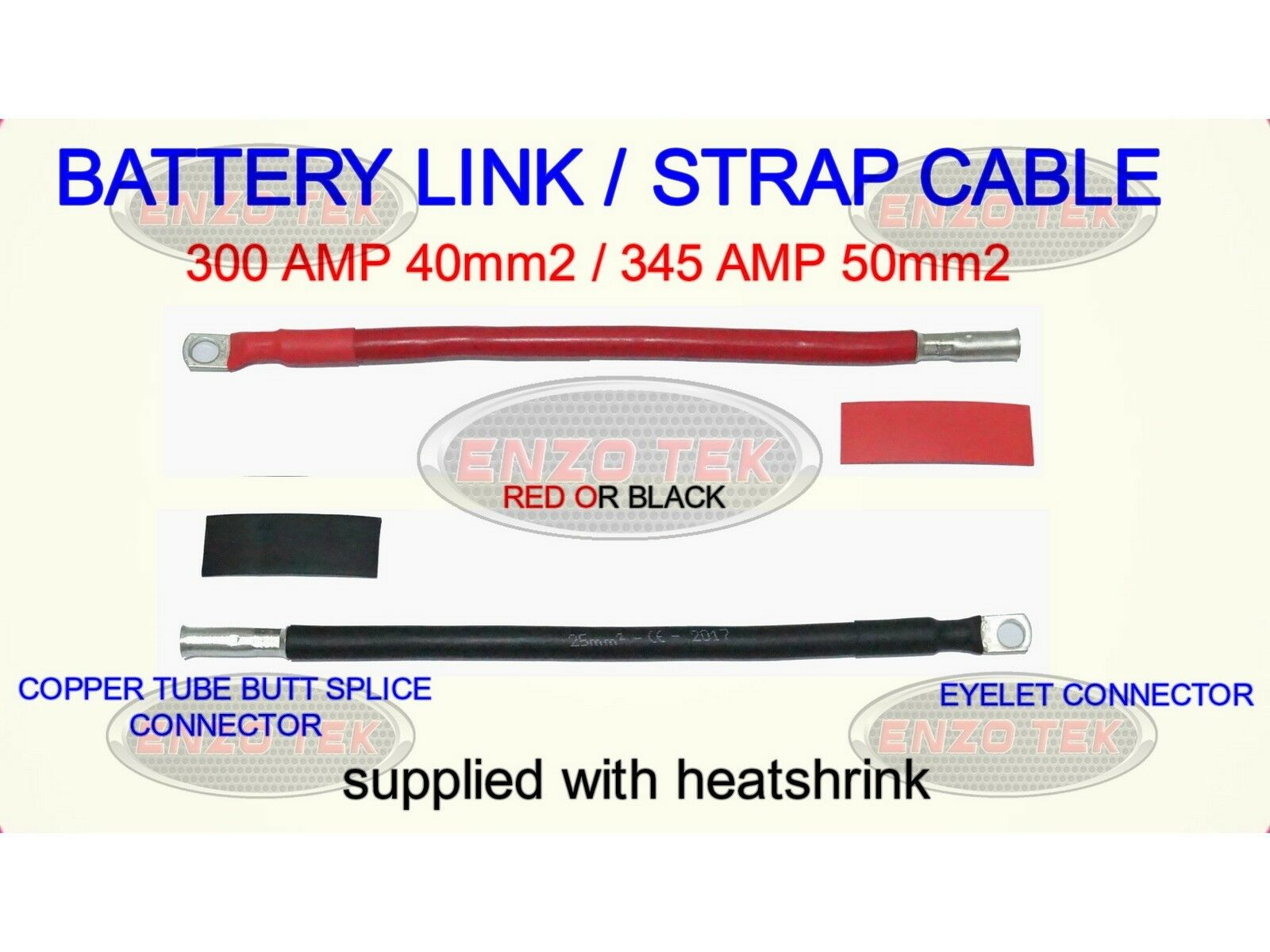 iShop Group Ltd Battery Lead Red or Black 110A Amp 16mm2 Cable Wire With 8MM Ring Terminals Heavy Duty Black, 12 Inch