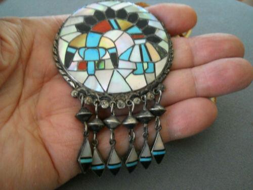 RALPH & LILLIE KALLESTEWA Stone Inlay Sterling Silver Rainbow Man Pendant Pin