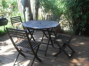 SOLID TIMBER FIVE PIECE OUTDOOR SETTING Boronia Heights Logan Area Preview