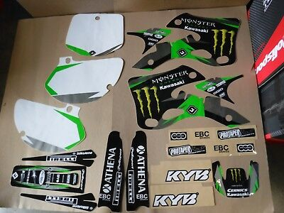 TEAM KAWASAKI GRAPHICS & NUMBER PLATES KX125 KX250 1999 2000 2001 2002