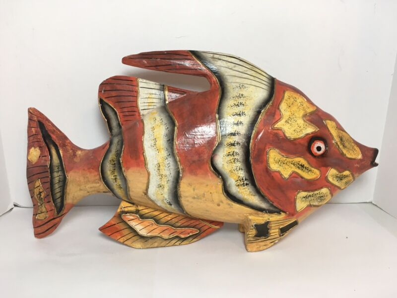 "Handcrafted Wood Fish 15.5"" Multicolored Home Beach Decor"