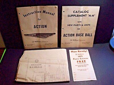 Williams ACTION Baseball Original 1971 Pinball Machine Service Manual Schematic