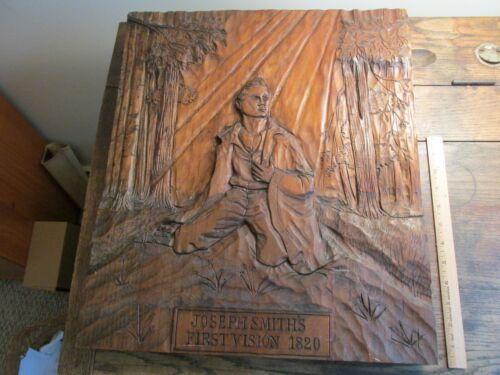 Vintage Old Mormon LDS Joseph Smith Solid Wood Carving Art Plaque Hand Carved