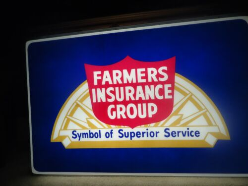 Vintage Farmers Insurance Large Two-sided Lighted Sign