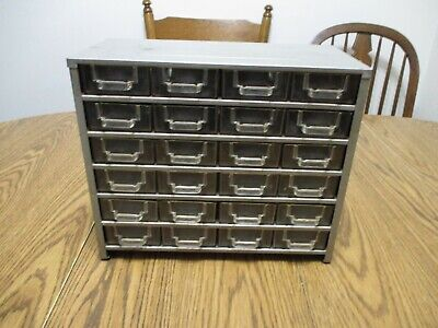 Vintage 24 Drawer Metal Cabinet With Plastic Drawers And Handles