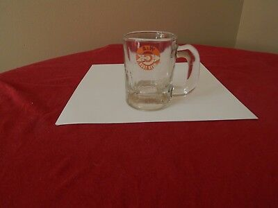 "A & W Root Beer Miniature Logo Glass Mug - very good condition 3 1/4"" tall"