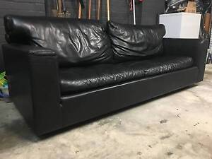 Black Leather Sofa 3-4 seater North Fremantle Fremantle Area Preview