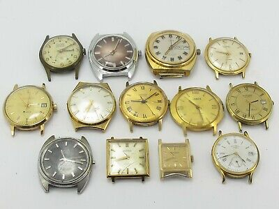 13 Vintage Gent's Man's Mechanical Watch Heads Sekonda Rotary Timex Ingersoll