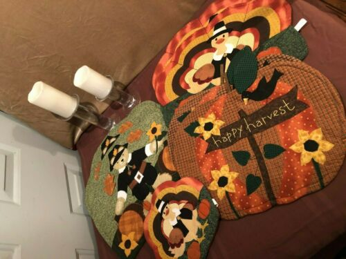 Happy Harvest/Thanksgiving Quilted Placemats (6)  & Potholder (1)  Turkey, Bear,