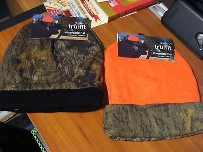 f8d8cd97519 Reversible Insulated Heavy Knit Hunting Cap   Camo   Blaze Orange Beanie Hat