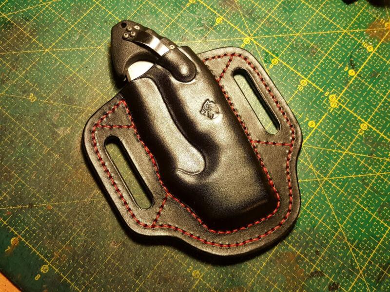Leather pancake friction sheath  for Spyderco Paramilitary 2 or Para 3 or Shaman