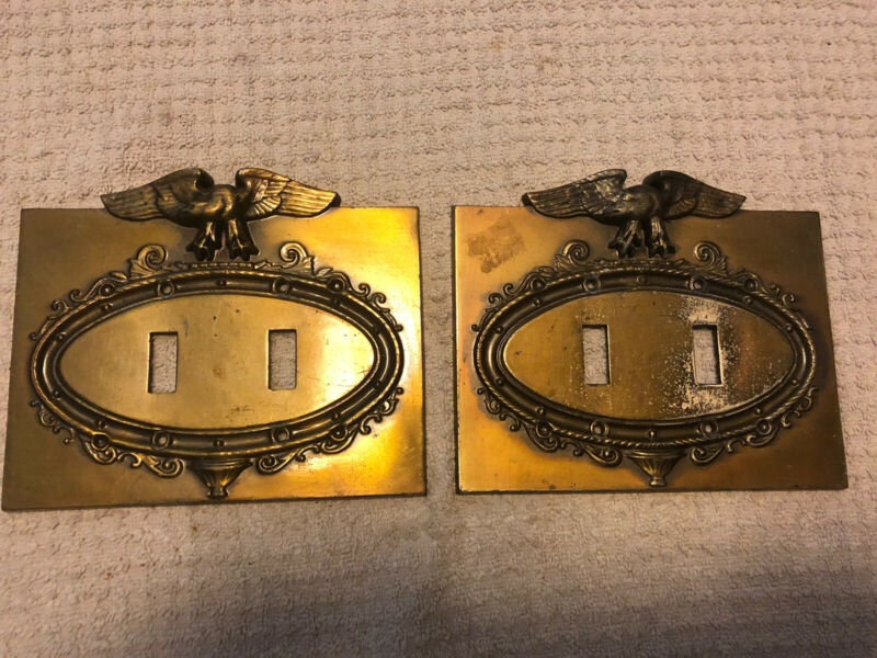set of vintage brass eagle light switch covers heavy