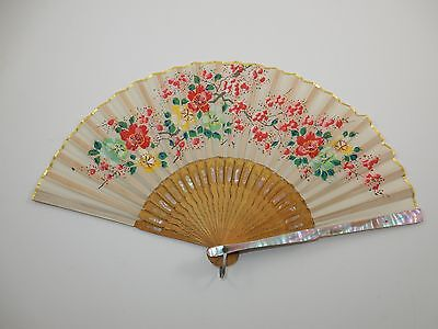 Japanese Hand Painted Floral Silk Fan w/ Mother of Pearl In Lay & Carved Wood