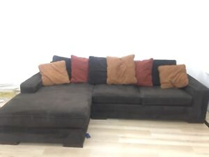Large Brown Pullout Sectional Couch