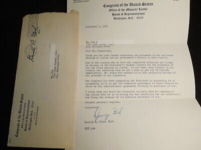 Gerald R. Ford Authentic Signed Letter Congress of the United States 9/6/72