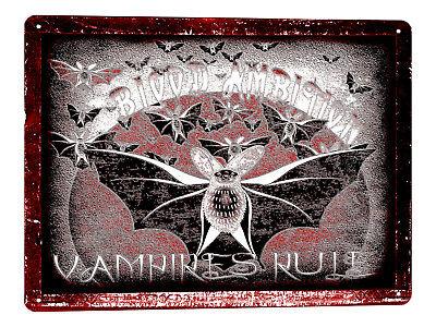 BAT HALLOWEEN Metal Sign scary Hunted House VAMPIRE HORROR vintage style art 235