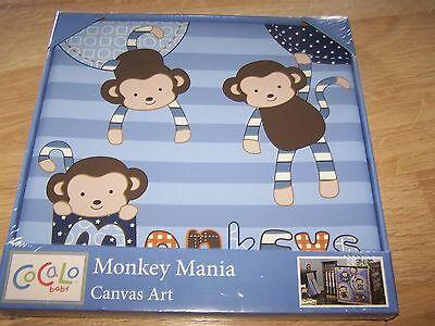 Cocalo Baby Monkey Mania Canvas Art Nursery Decor Wall Hanging Blue 12 X 12