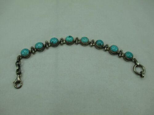 """Vintage Southwestern Turquoise Sterling Silver Link Bracelet 7"""" 925 296E"""