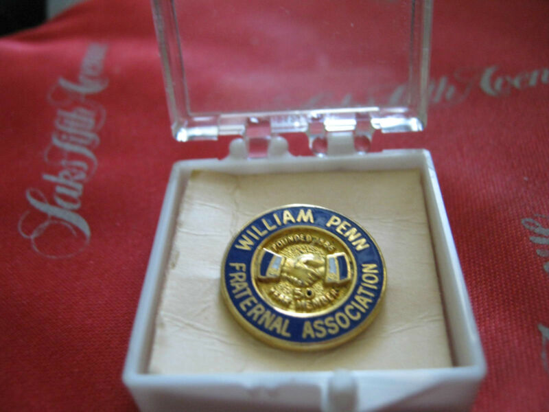 1955-1972 WILLIAM PENN FRATERNAL ASSOCIATION 50 Year Member pin VERHOVAY AID